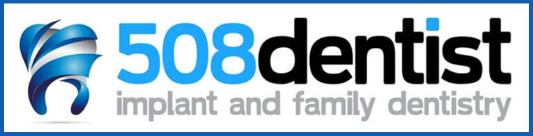 "508 Dentist logo of a blue and white tooth with text that says ""508 dentist - implant and family dentistry"""